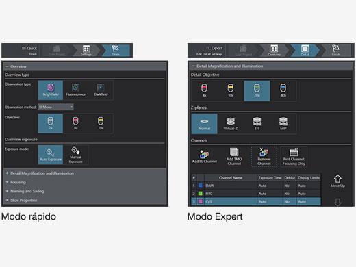 Interface gráfica do usuário nos modos rápido e expert